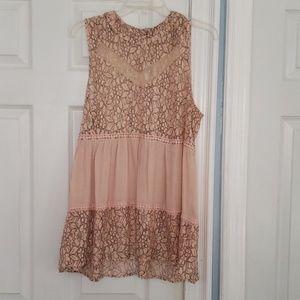 Stunning blush colored sleeveless lace top